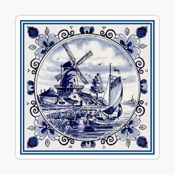 DUTCH BLUE DELFT: Vintage Windmill Print Sticker