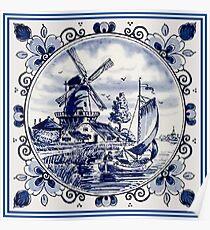 DUTCH BLUE DELFT: Vintage Windmill Print Poster
