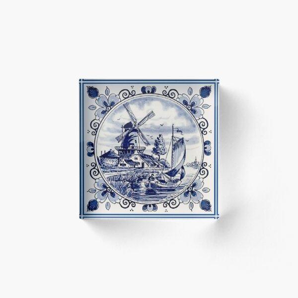 DUTCH BLUE DELFT: Vintage Windmill Print Acrylic Block