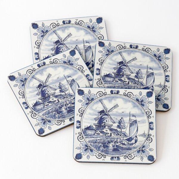 DUTCH BLUE DELFT: Vintage Windmill Print Coasters (Set of 4)