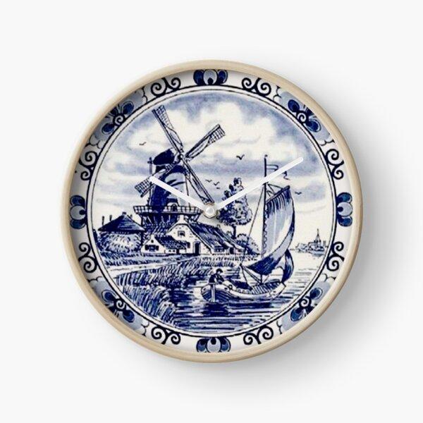 DUTCH BLUE DELFT: Vintage Windmill Print Clock