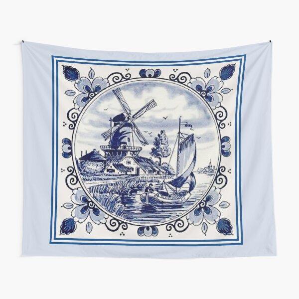 DUTCH BLUE DELFT: Vintage Windmill Print Tapestry