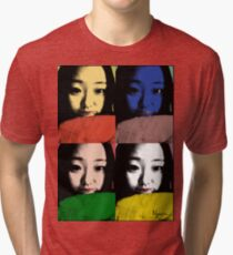 BEAUTIFUL FUNNY ASIAN GIRL POP ART COLOR Tri-blend T-Shirt