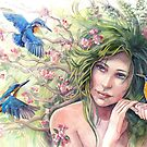 Queen Apple Tree and Kingfishers by vasylissa