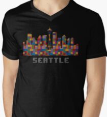 Space Needle Seattle Washington Skyline Created With Lego Like Blocks T-Shirt