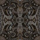 Curves and lotuses, abstract floral pattern, black and taupe by clipsocallipso