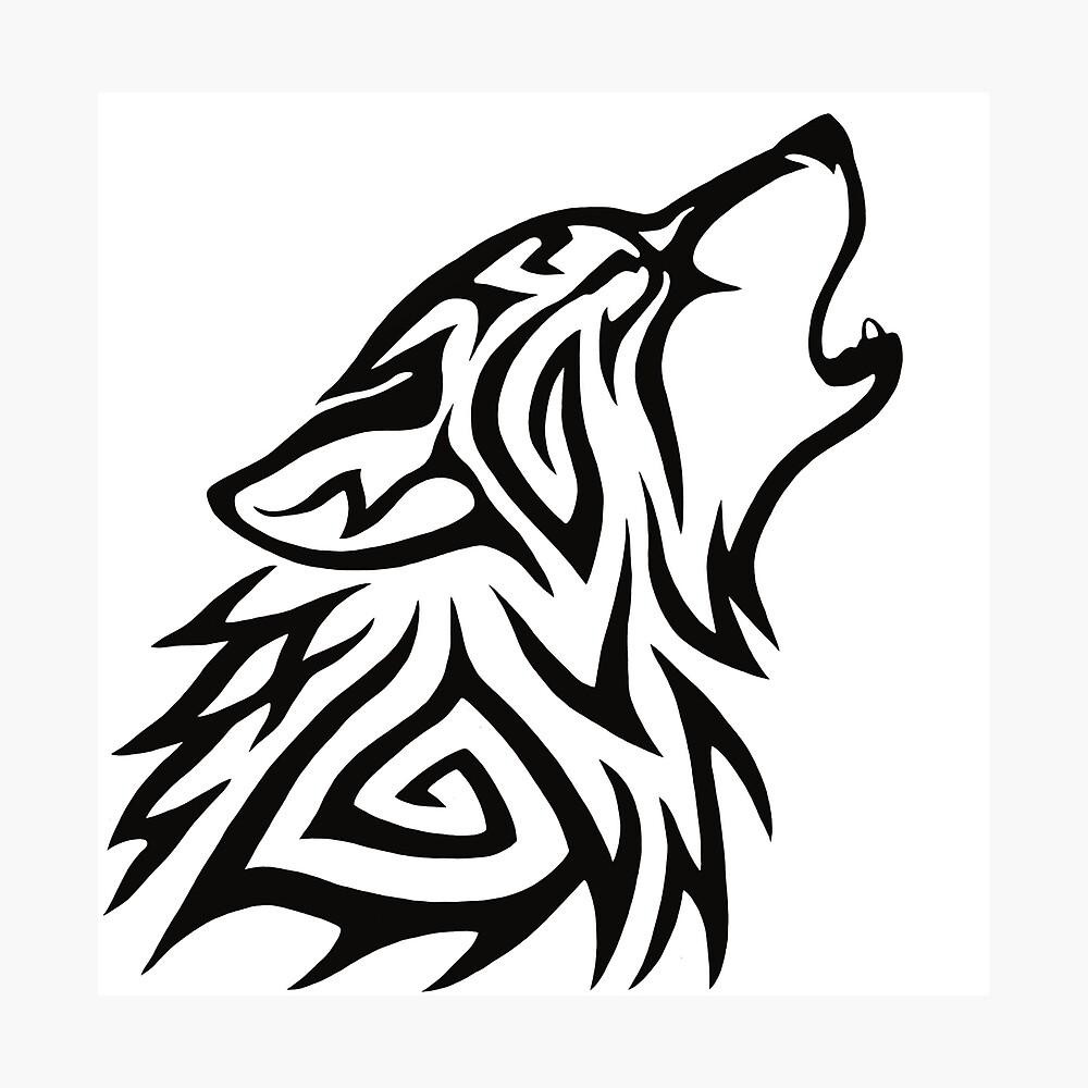 Aullido de lobo tribal Lámina fotográfica