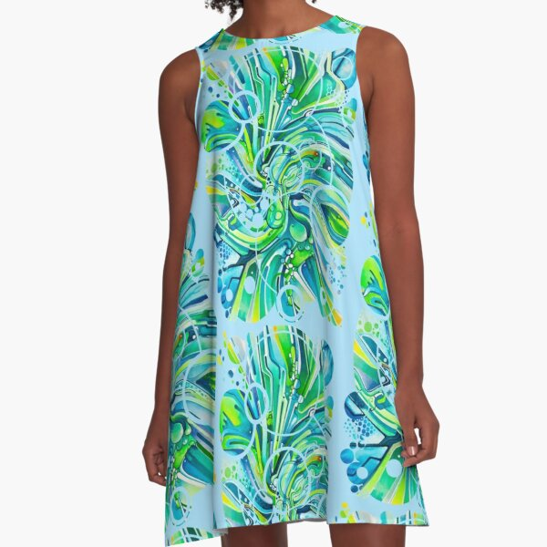 Dynamic Ever-Present Pull - Watercolor Painting A-Line Dress
