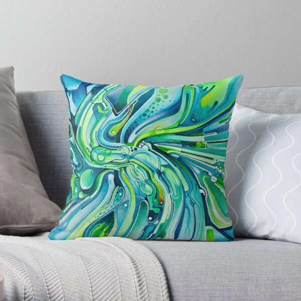 Dynamic Ever-Present Pull - Watercolor Painting Throw Pillow
