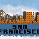 Golden Gate Bridge San Francisco California Skyline Created With Lego Like Blocks by T-ShirtsGifts