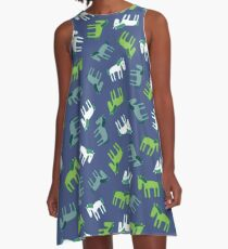 Ponies - green, grey and white on teal - Fun pattern by Cecca Designs A-Line Dress