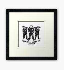 White belts are friends not food Framed Print