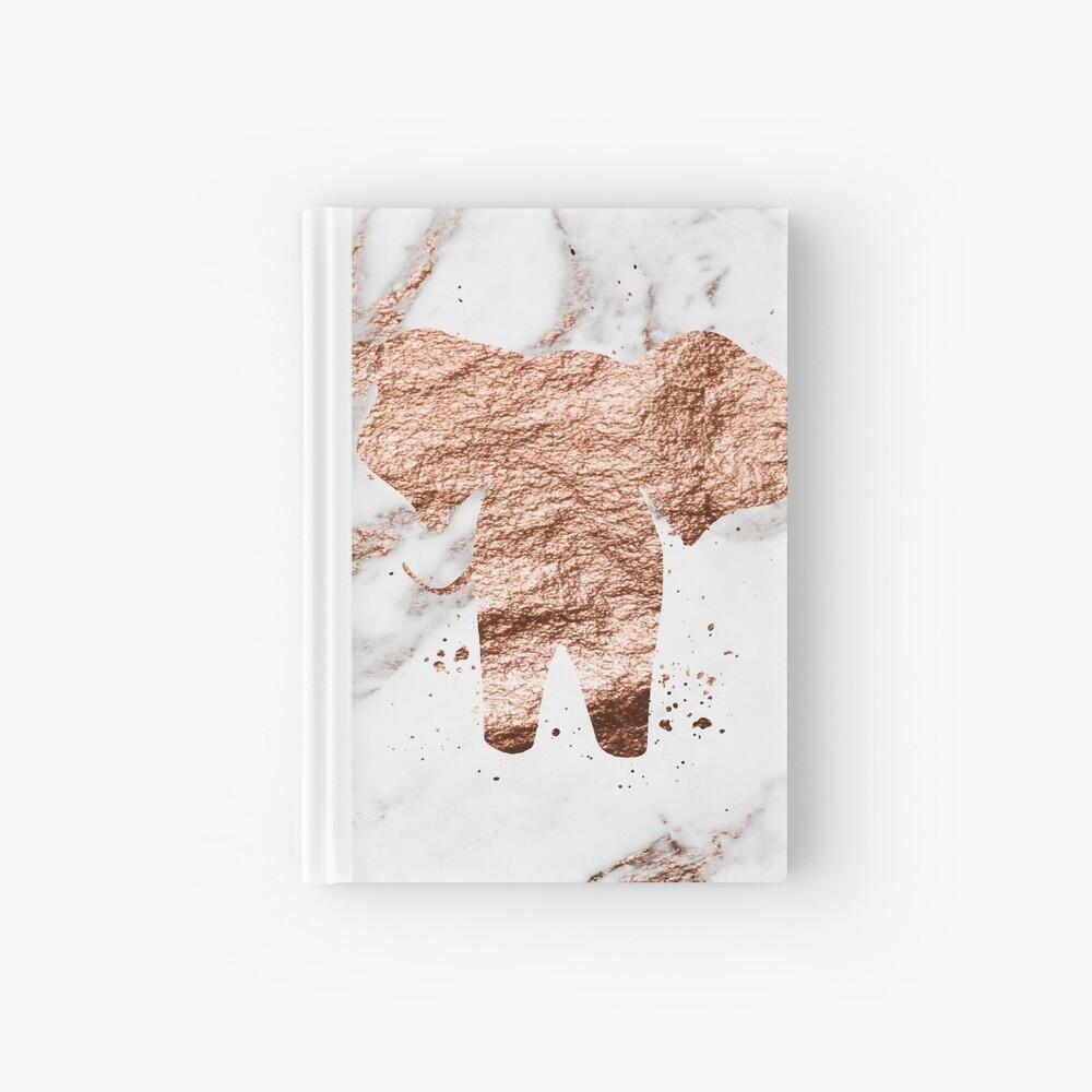 Elefant - Roségold Marmor Notizbuch