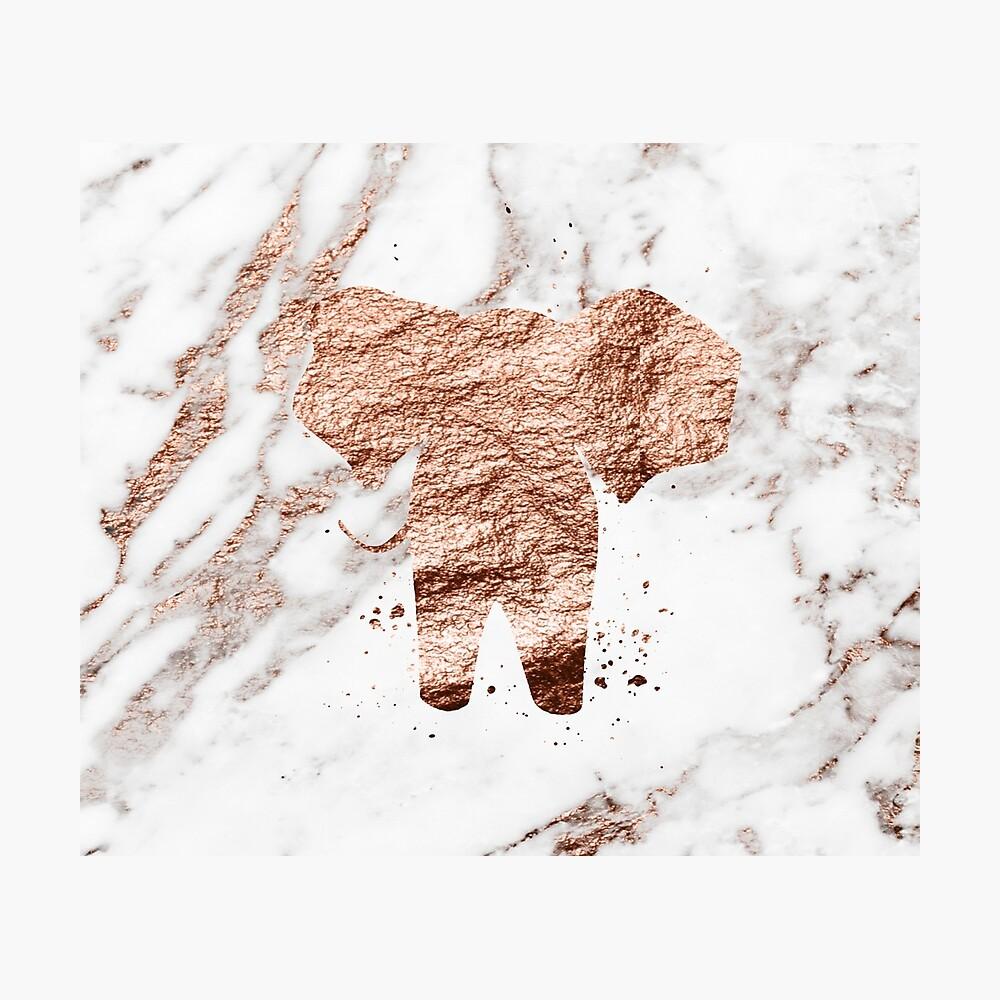 Elefant - Roségold Marmor Fotodruck