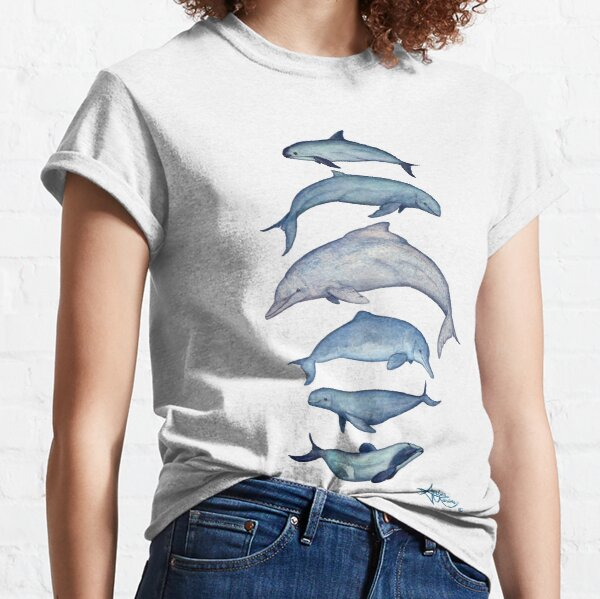 """""""Rare Cetaceans"""" by Amber Marine ~ (Copyright 2017) Watercolor dolphins and porpoises, © 2017 - Vaquita, irrawaddy, maui's, humpback, finless, baiji Classic T-Shirt"""