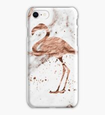 Flamingo - rose gold marble  iPhone Case/Skin