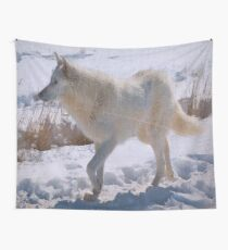 """Lone White Wolf""  Wall Tapestry"