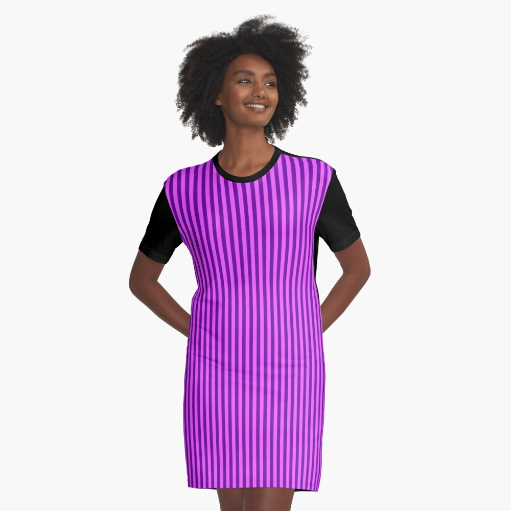 Pink and Purple Striped Dress Graphic T-Shirt Dress Front