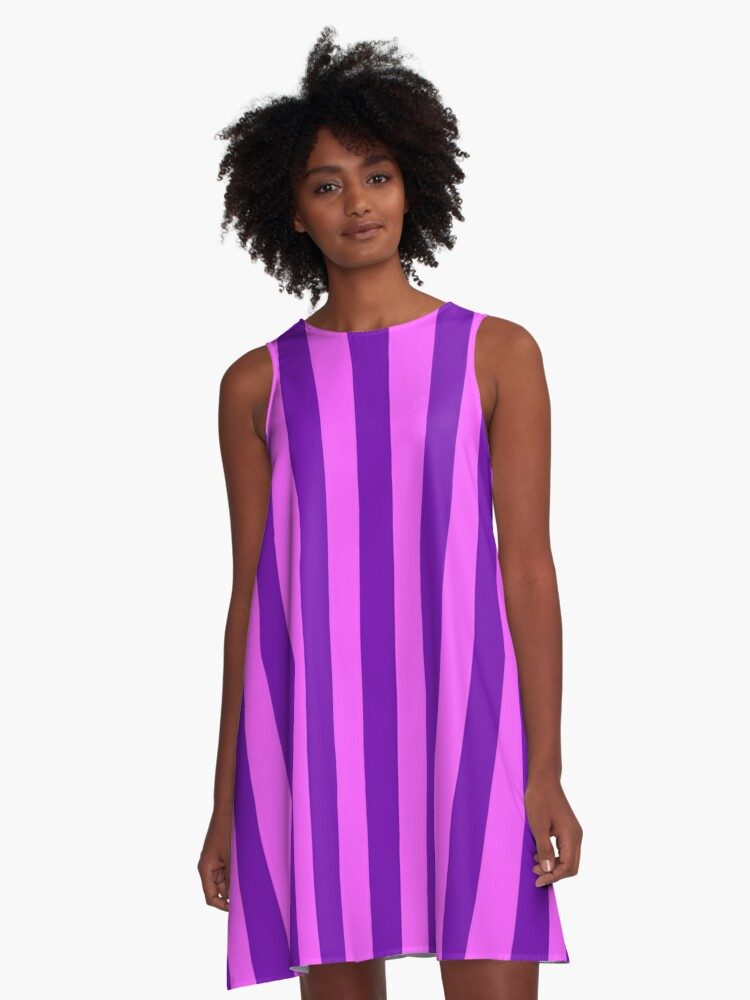 Pink And Purple Striped Dress A Line Dress By Deanworld Redbubble