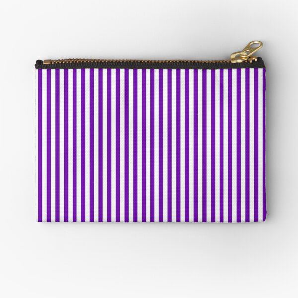 Purple and White Striped Slimming Dress Zipper Pouch