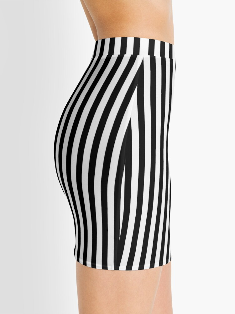 Alternate view of Slimming Black White Striped Mini Skirt Mini Skirt