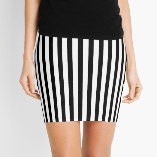Slimming Black White Striped Mini Skirt Mini Skirt