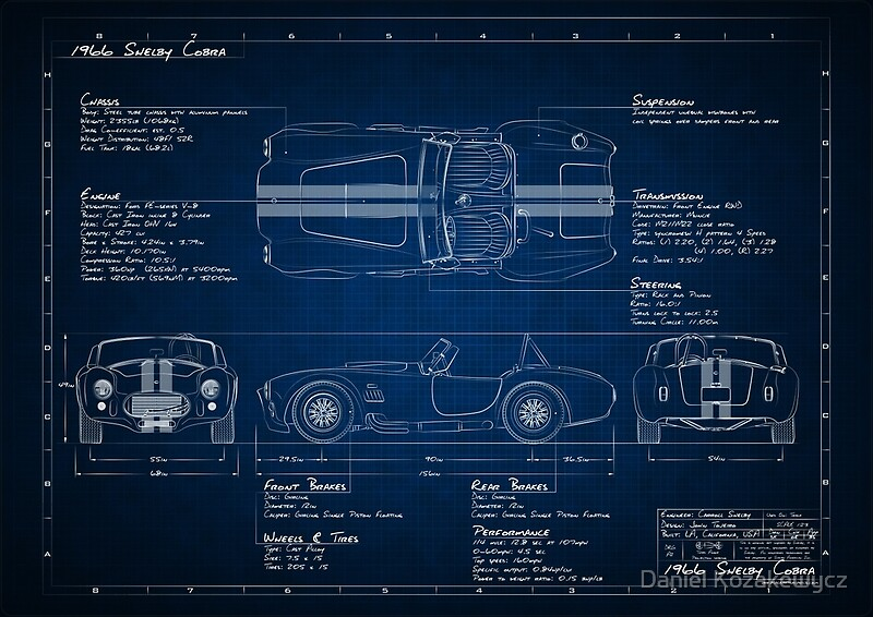 Psters shelby cobra blueprint de daniel kozakewycz redbubble shelby cobra blueprint de daniel kozakewycz malvernweather Gallery