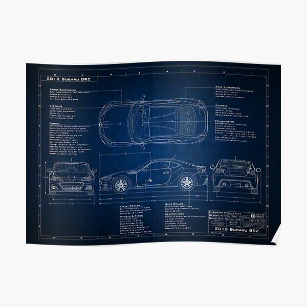 Subaru BRZ Blueprint Poster
