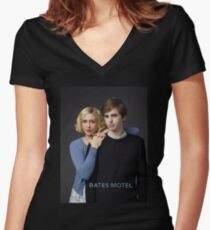 Bates Motel - Norman and Norma Women's Fitted V-Neck T-Shirt
