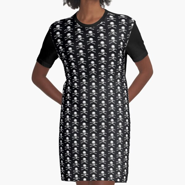 Skull and Crossbones | Jolly Roger | Pirate Flag | Deaths Head | Black and White | Skulls and Skeletons | Vintage Skulls | Graphic T-Shirt Dress
