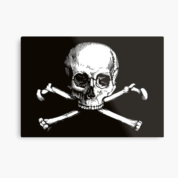 Skull and Crossbones | Jolly Roger | Pirate Flag | Deaths Head | Black and White | Skulls and Skeletons | Vintage Skulls | Metal Print