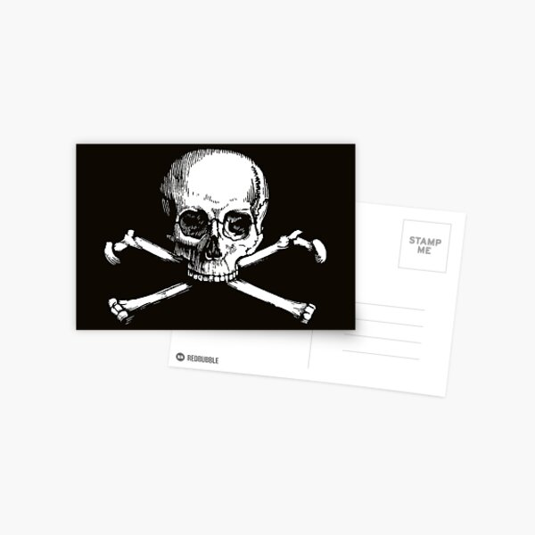 Skull and Crossbones | Jolly Roger | Pirate Flag | Deaths Head | Black and White | Skulls and Skeletons | Vintage Skulls | Postcard