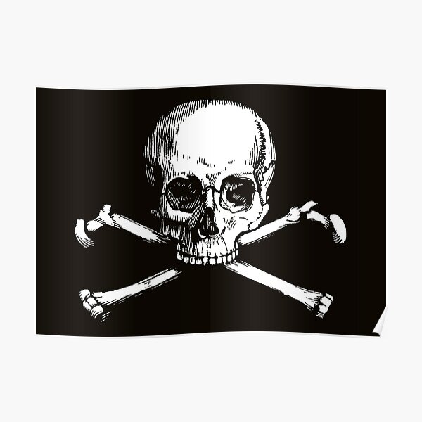 Skull and Crossbones | Jolly Roger | Pirate Flag | Deaths Head | Black and White | Skulls and Skeletons | Vintage Skulls | Poster