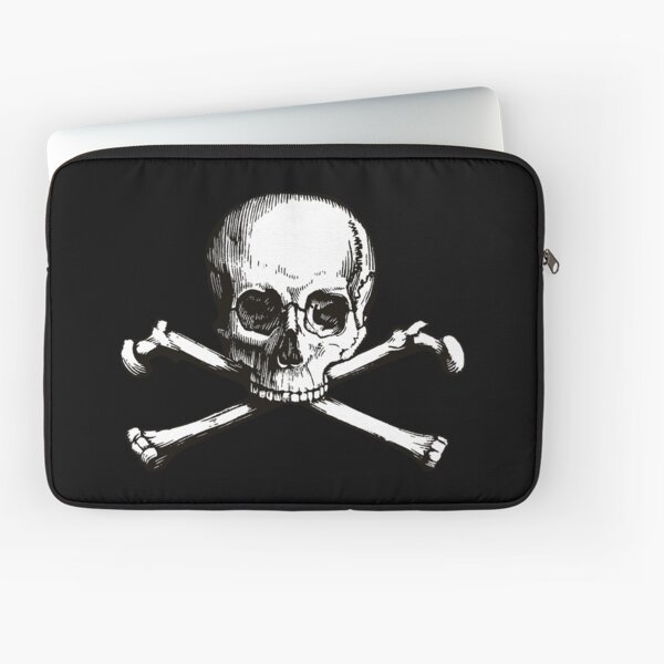 Skull and Crossbones | Jolly Roger | Pirate Flag | Deaths Head | Black and White | Skulls and Skeletons | Vintage Skulls | Laptop Sleeve