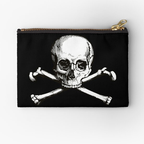 Skull and Crossbones   Jolly Roger   Pirate Flag   Deaths Head   Black and White   Skulls and Skeletons   Vintage Skulls   Zipper Pouch