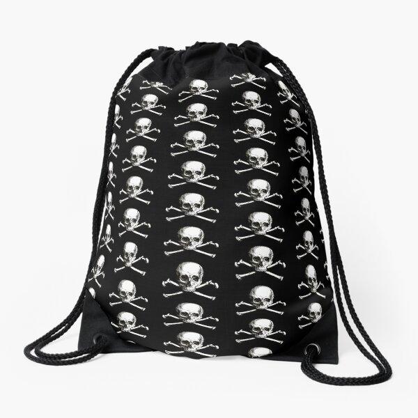 Skull and Crossbones | Jolly Roger | Pirate Flag | Deaths Head | Black and White | Skulls and Skeletons | Vintage Skulls | Drawstring Bag
