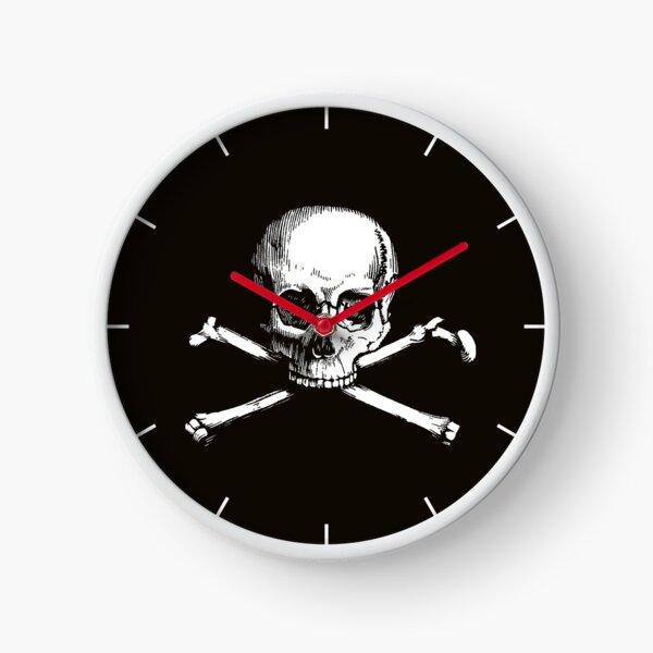 Skull and Crossbones | Jolly Roger | Pirate Flag | Deaths Head | Black and White | Skulls and Skeletons | Vintage Skulls | Clock