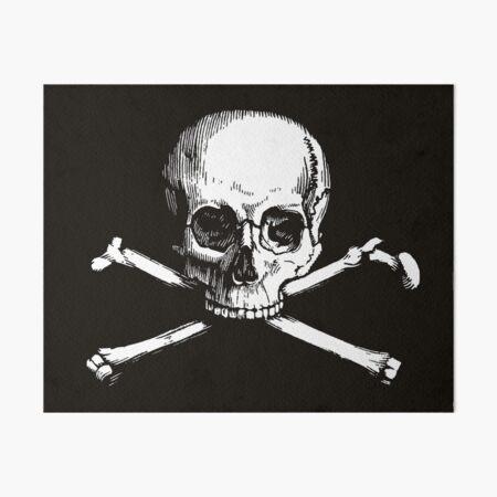 Skull and Crossbones | Jolly Roger | Pirate Flag | Deaths Head | Black and White | Skulls and Skeletons | Vintage Skulls | Art Board Print