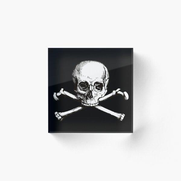 Skull and Crossbones | Jolly Roger | Pirate Flag | Deaths Head | Black and White | Skulls and Skeletons | Vintage Skulls | Acrylic Block