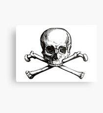 Skull and Crossbones | Black and White Metal Print