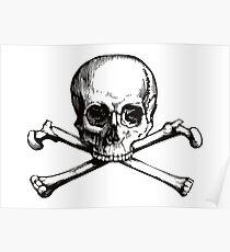 Skull and Crossbones   Black and White Poster