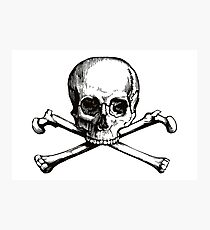 Skull and Crossbones   Black and White Photographic Print