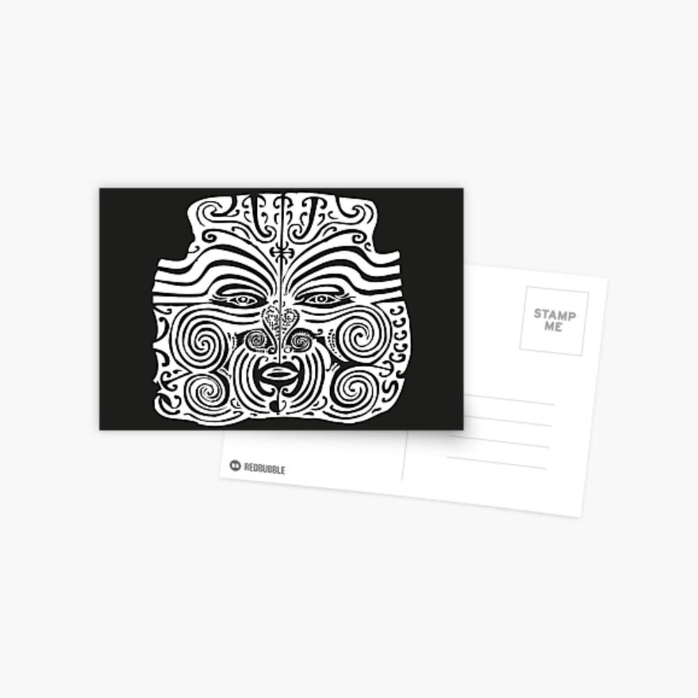 Maori Moko   Tribal Tattoo   New Zealand   Black and White    Postcard
