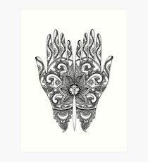 Lámina artística Mehndi Tattoo Hands | En blanco y negro