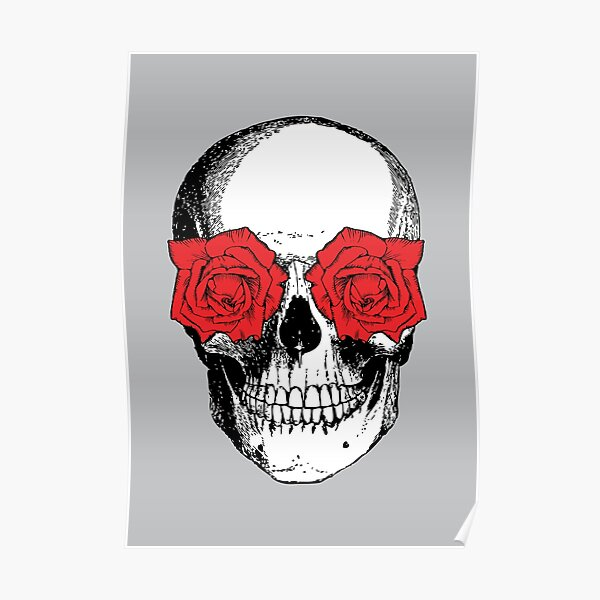 Skull and Roses | Skull and Flowers | Skulls and Skeletons | Vintage Skulls | Grey and Red |  Poster