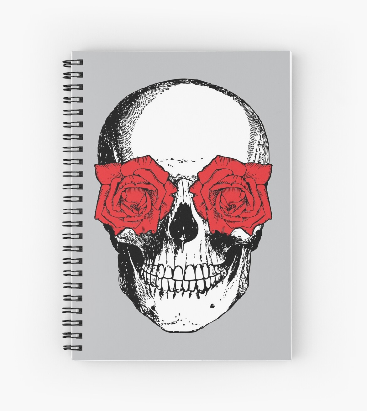Skull and Roses | Grey and Red by EclecticAtHeART