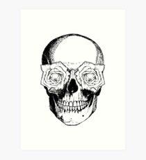 Skull and Roses | Black and White Art Print