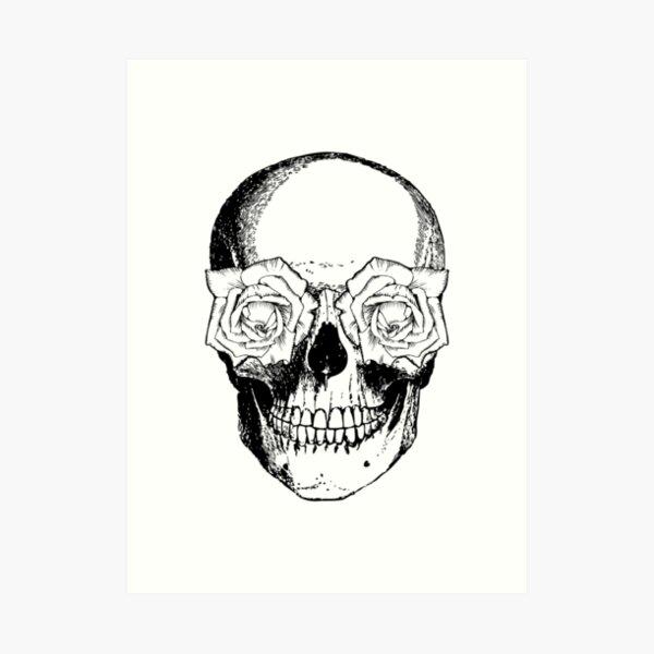 Skull and Roses | Skull and Flowers | Skulls and Skeletons | Vintage Skulls | Black and White | Art Print