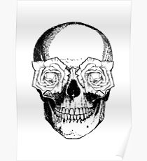 Skull and Roses | Black and White Poster