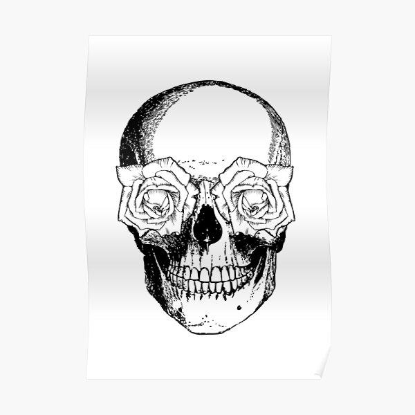 Skull and Roses | Skull and Flowers | Skulls and Skeletons | Vintage Skulls | Black and White | Poster